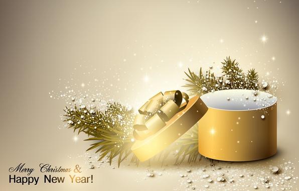 Картинка подарок, новый год, коробочка, веточки елки