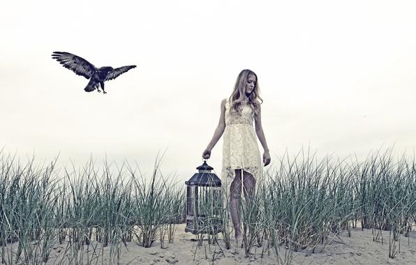 Картинка девушка, птица, клетка