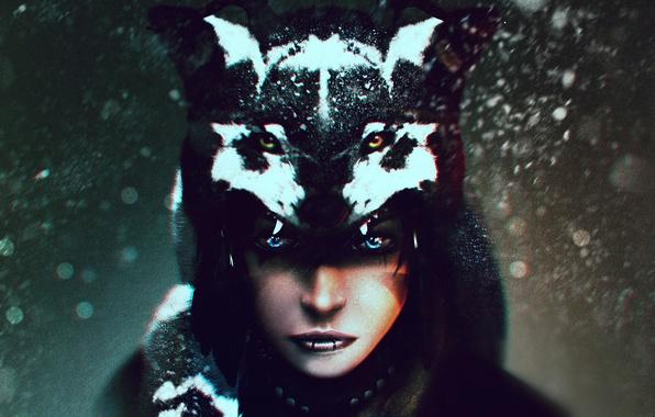 Картинка взгляд, девушка, волк, арт, шаман
