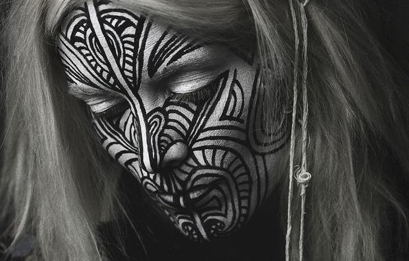 Картинка девушка, креатив, Тату, этнос, индеец, Fever Ray