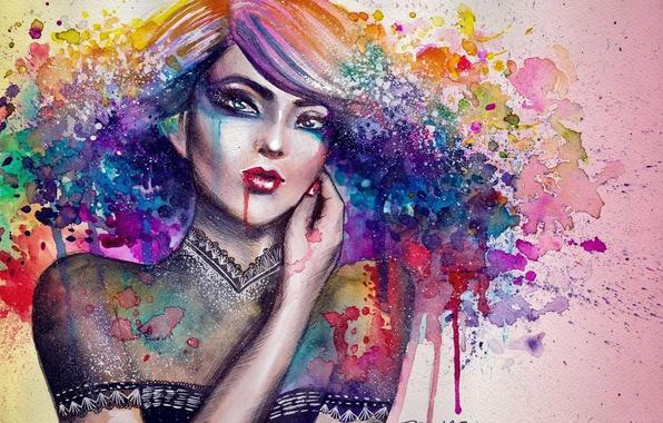 Картинка девушка, краски, рисунок, рука, портрет, арт, кляксы, холст, nimae-rian