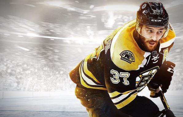 Картинка перчатки, шлем, клюшка, хоккей, игрок, EA Sports, Bruins, EA Canada, Патрис Бержерон, NHL 15, Patrice …