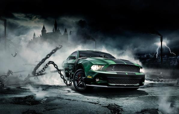 Картинка Mustang, Ford, Shelby, Мустанг, цепи