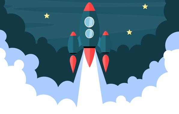 Картинка звезды, вектор, ракета, взлет