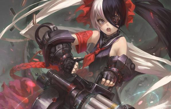 Картинка девушка, оружие, гильзы, art, выстрелы, blade & soul, pohwaran, iorlvm