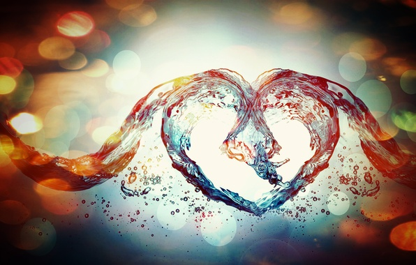 Картинка вода, любовь, синий, сердце, abstract, love, colourful, эффекты, heart, blue, water, абстрактный, красочный, effects