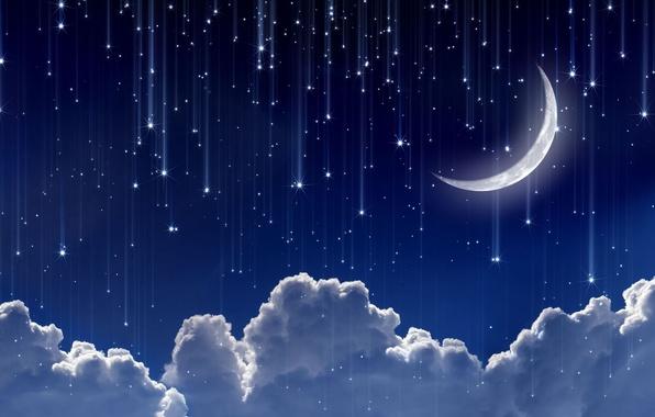 Картинка небо, космос, звезды, облака, ночь, сияние, фон, widescreen, обои, луна, месяц, wallpaper, moon, звездочки, sky, …