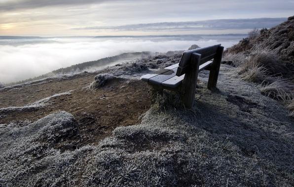 Картинка пейзаж, гора, скамья