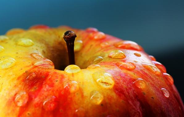 Картинка капли, макро, яблоко