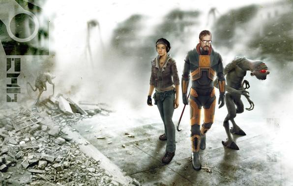 Картинка Гордон Фримен, Аликс Вэнс, Вортигонт, Half-life 2