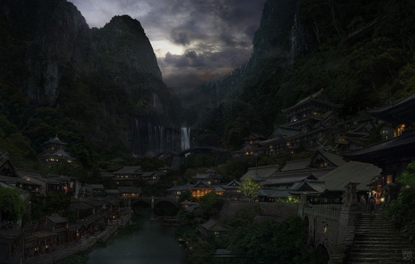 Картинка облака, горы, мост, город, огни, река, китай, восток