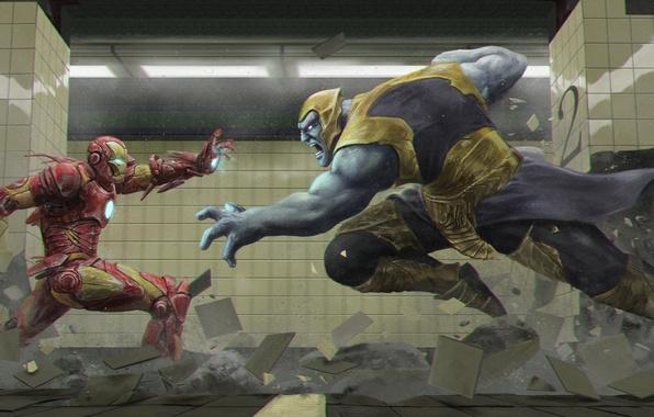 Картинка метро, плитка, человек, костюм, колонны, alien, art, iron man, marvel comics