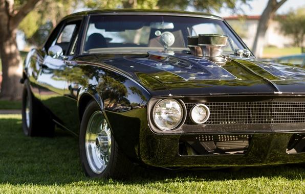 Картинка ретро, Chevrolet, Camaro, классика, передок, Мускул кар