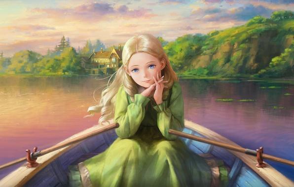 Картинка лес, взгляд, дом, река, берег, лодка, арт, девочка