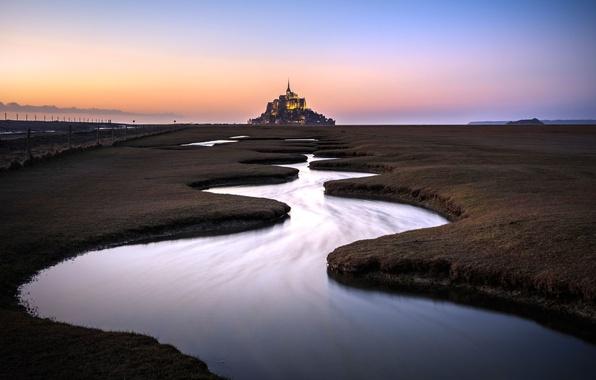 Картинка вода, река, Франция, ограда, луг, монастырь, Нормандия, Ла-Манш, Мон-Сен-Мишель