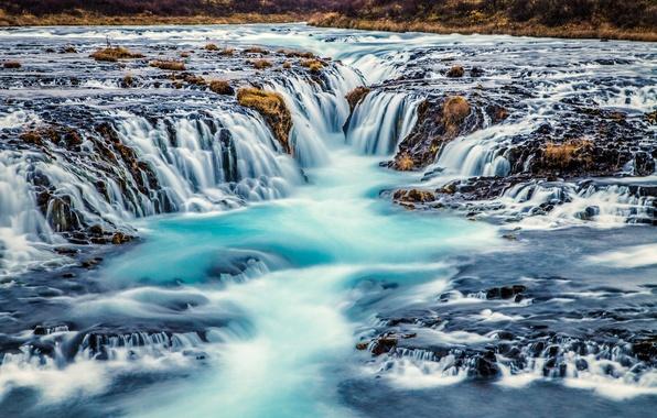 Картинка река, водопад, каскад, Исландия, Iceland, Bruarfoss, Arnessysla