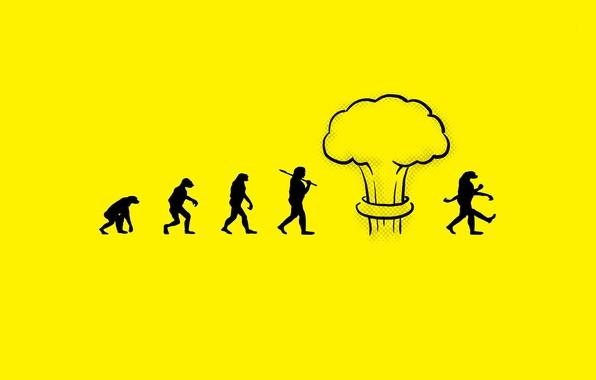 Картинка человек, мутация, ядерный взрыв, эволюция