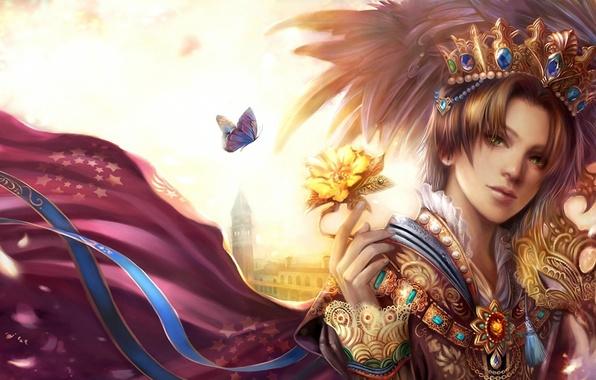 Картинка цветок, украшения, корона, костюм, лента, жемчуг, принц, парень, король