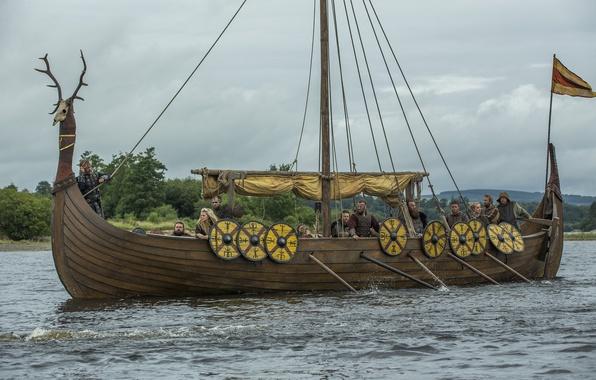 Фото обои сериал, Викинги, Vikings, «корабль-дракон», Драккар, мореходы