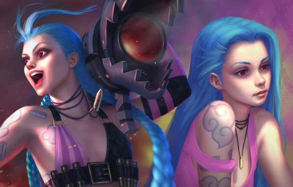 Картинка девушка, art, синие волосы, League of Legends, jinx, Loose Cannon, moba