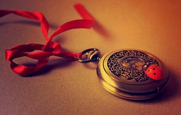 Картинка красный, время, часы, божья коровка, лента, red, time, clock, ribbon, ladybird