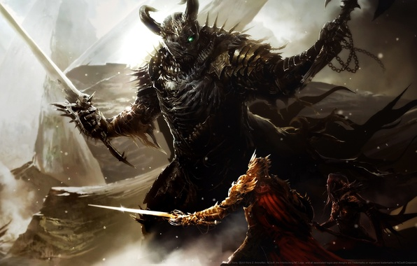 Картинка доспехи, шлем, битва, топор, мечи, воительница, воины