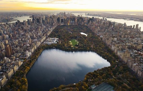 Картинка город, озеро, обои, небоскребы, вечер, панорама, wallpaper, нью-йорк, New York, манхэттен, Центральный парк, Central Park, …