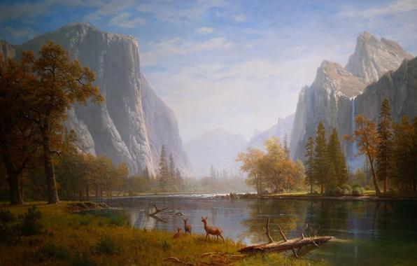Картинка вода, деревья, горы, природа, дерево, рисунок, гора, арт, рисунки, водопады, картина животные