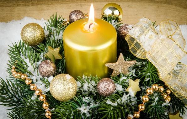 Картинка снег, украшения, елка, свечи, Новый Год, Рождество, подарки, Christmas, Xmas, decoration, gifts, Merry