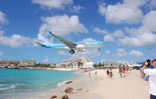 Картинка пляж, фото, самолёт, Maho Beach, St Maarten