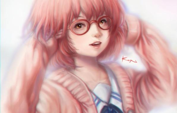 Картинка девушка, улыбка, аниме, арт, очки, Kyoukai no Kanata, kuriyama mirai, kwonchanji, kuon