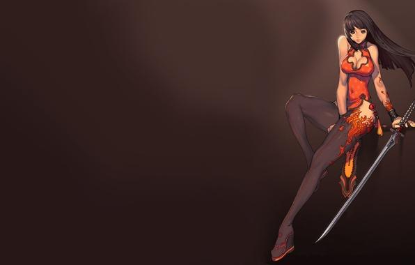 Картинка девушка, оружие, фон, меч, наряд, Blade and Soul
