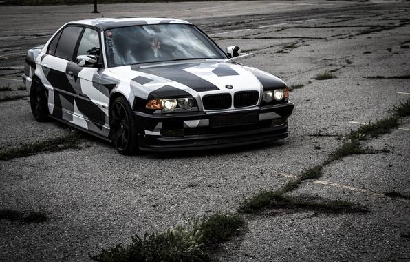 Картинка BMW, БМВ, winter, Alpina, E38, 740il, arctic camo, camo, Тюинг