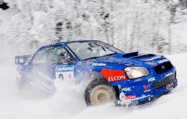 Картинка Зима, Авто, Синий, Subaru, Impreza, Снег, Спорт, Машина, Гонка, wrx, WRC, Субару, Rally