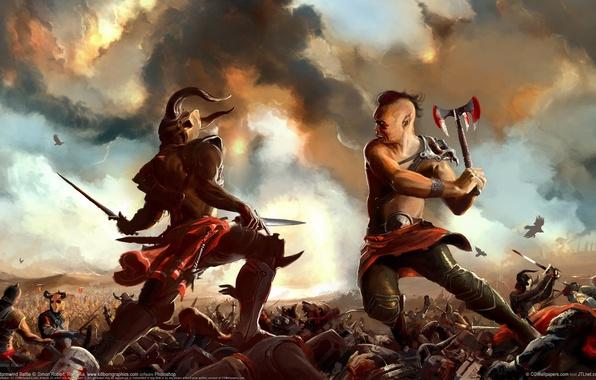 Картинка тучи, оружие, кровь, воин, арт, ярость, вороны, битва, поединок, simon robert