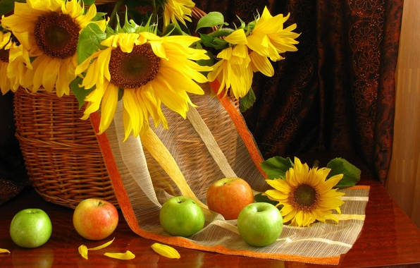 Картинка подсолнухи, цветы, яблоки, лепестки, фрукты, натюрморт