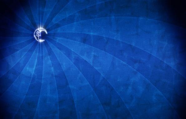Картинка синий, луна, минимализм
