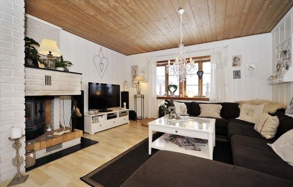Картинка фото, комната, диван, интерьер, телевизор, потолок, люстра, камин, гостиная