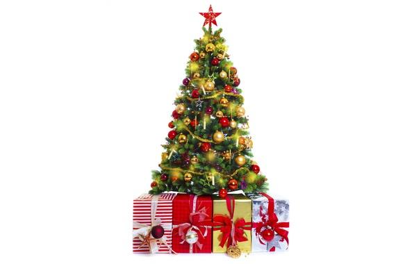 Картинка украшения, праздник, шары, игрушки, елка, подарки, белый фон, Новый год, гирлянда, звездочки, лампочки, ленточки, коробки, …