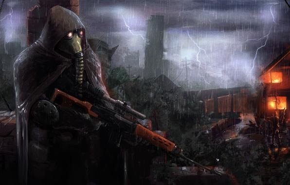 Картинка гроза, дом, оружие, дождь, огонь, пламя, засада, разрушение, солдаты, плащ, stalker, сталкер, s.t.a.l.k.e.r., ambush