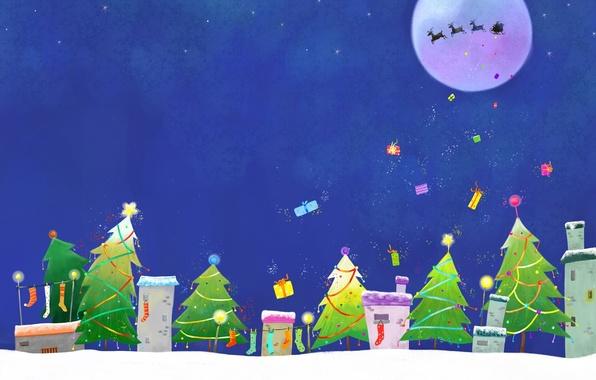 Картинка зима, звезды, украшения, праздник, луна, новый год, рождество, огоньки, подарки, домики, носки, christmas, new year, ...