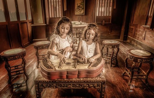 Картинка музыка, девочки, инструмент