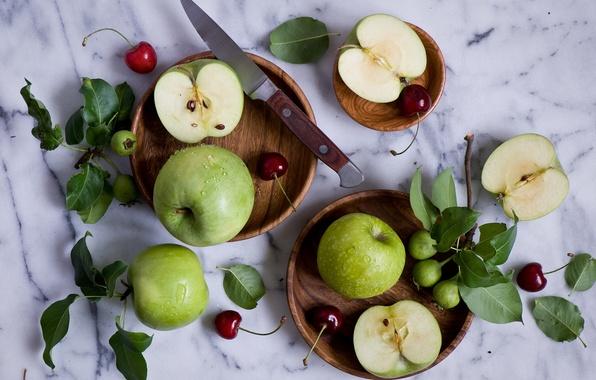 Картинка ягоды, яблоки, нож, листочки, натюрморт, черешня