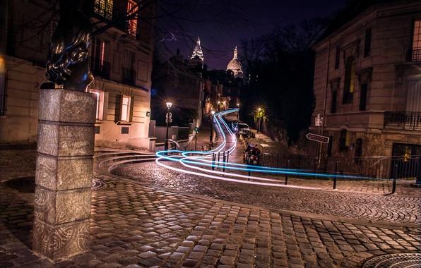 Картинка дорога, ночь, огни, движение, Франция, Париж, дома, выдержка, фонари, мостовая, улицы