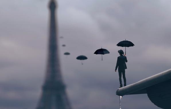 Картинка крыша, капли, дождь, Париж, зонт, мужчина