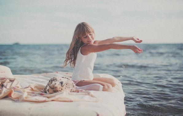 Картинка море, солнце, радость, девочка