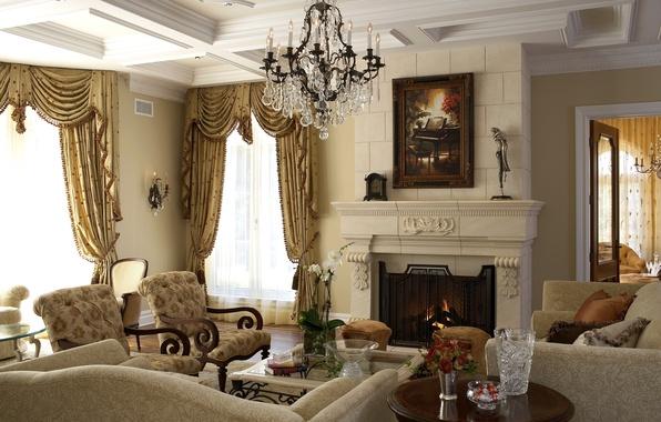 Картинка цветок, цветы, дизайн, стиль, комната, огонь, розы, интерьер, букет, картина, кресла, люстра, камин, орхидеи, орхидея