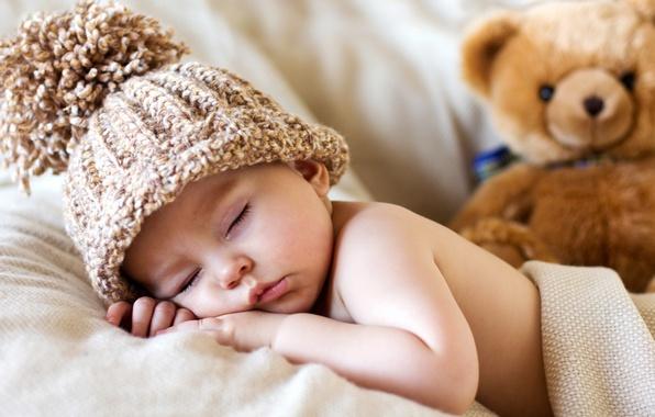 Картинка шапка, игрушка, ребенок, малыш, медведь, мишка, toy, bear, baby, cute, sleeping, спящий, Teddy