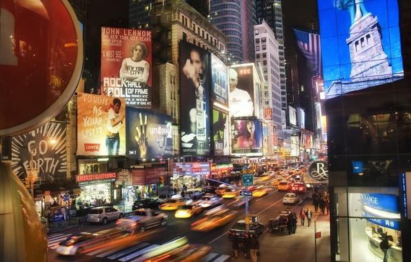 Картинка машины, ночь, небоскребы, Times Square at Night, New York
