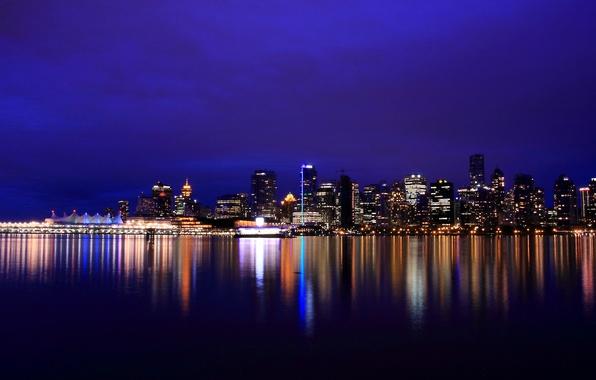 Картинка ночь, lights, огни, отражение, река, небоскребы, подсветка, Канада, Ванкувер, Canada, British Columbia, river, reflection, Vancouver, …